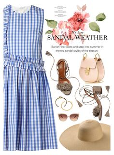 """""""sandal weather"""" by catarina-lau-sousa ❤ liked on Polyvore featuring MSGM, Aquazzura, Chloé and Barton Perreira"""