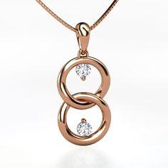 14K Rose Gold Necklace with Diamond | Us Two Pendant | Gemvara