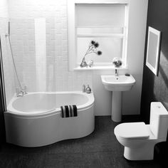 Sumptuous Dark Bathroom Floor Tile Ideas With White Corner Tubs As Well As White Porcelain Pedestal Sink In Small Apartment Black And White Bathroom Designs