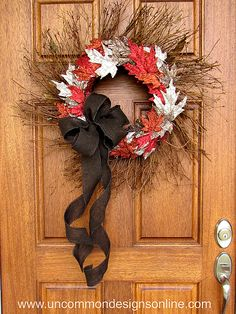 Make a Fall Leaf Wreath even more fabulous with glitter! ~ Uncommon Designs