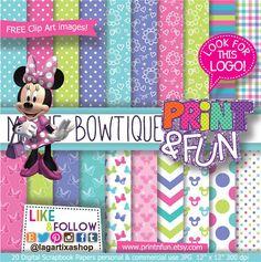 MINNIE MOUSE BOWTIQUE clip art Pink Teal Lime Purple chevron bows Clubhouse Disney Digital Paper Patterns Background invitations scrapbook