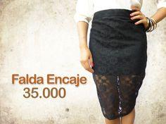 Falda tubo encaje negro $35.000