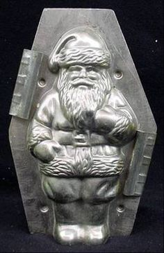 """Antique Santa Chocolate mold 7.25"""" standing Santa with candy Factory Provenance.  Photo via Eaby"""