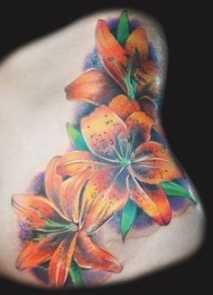 Realistic tiger lily tattoo to add to my side piece Tatoo Flowers, Lily Flower Tattoos, Flower Tattoo On Side, Flower Tattoo Shoulder, Flower Tattoo Designs, Rose Tattoos, Body Art Tattoos, Tatoos, Butterfly Tattoos