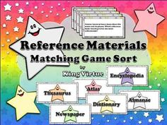Reference Materials: Encyclopedia, Dictionary, Thesaurus, Atlas, Almanac, and Newspaper Matching Game Sort  Students will love practicing what you've taught them about word-reference materials with this game sort activity!  This set includes: 1 Page Instructions 6 Headers 72 Question/Scenario Sorting Cards (Wow!) 6 Page Answer Key (separated by reference book)  Enjoy! :)