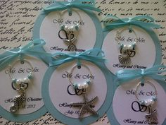 Custom Beach Themed Wine Charm Favors  Weddings by FromAppalachia, $1.85