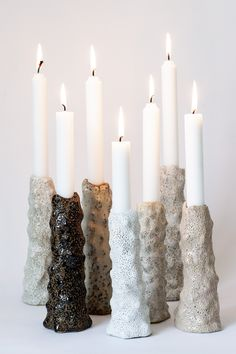 Luxury Candles, Diy Candles, Pillar Candles, Ceramic Pottery, Pottery Art, Ceramic Art, Diy Clay, Clay Crafts, Clay Candle Holders