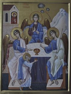 Whispers of an Immortalist: Icons of God 2 The Holy Trinity / The Hospitality of Abraham Byzantine Icons, Byzantine Art, Blessed Mother Mary, Sacred Art, Religious Art, Pet Birds, Saints, Bible, Pets