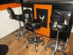 BIKER Motorcycle Style Seat Pneumatic Bar Stool / Shop Stool MANCAVE GARAGE #Unbranded   Harley ...