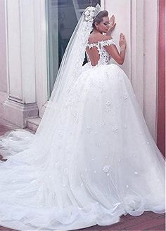 Dressylady Off the Shoulder See-through Corset Bodice Beaded Appliques Wedding Dress at Amazon Women's Clothing store:
