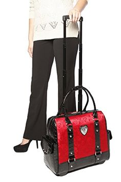 FOLLOW YOUR HEART Red & Black Alligator Rolling Laptop Bag! Perfect for travel or work! Super cute!