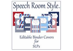 Speech Room Style - Editable Binder Covers / Spines (match nautical theme packet)