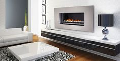 Modern Fireplace - Contemporary Electric & Open Front Gas Fireplaces, Stainless Steel