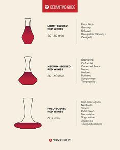 """The simple act of pouring wine and allowing it some """"air time"""" actually improves the taste. But, how long should you wait? And, does wine go bad if decanted too long? Here are some tips and tricks for decanting different types of wines. Wine Wednesday, Red Wine Benefits, Different Types Of Wine, Wine Types, Wine Chart, Wine Folly, Orange Wine, Pouring Wine, Wine Tasting"""