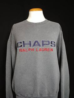 90d0df86745 Vintage Chaps Ralph Lauren Big Logo Spell Out Embroidered Sweatshirt   Nineties Polo RL Hip Hop