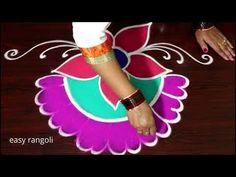 Sri Rama Navami special Rangoli - Draw Vibrant festival Kolam for Sri R. Rangoli Borders, Rangoli Border Designs, Colorful Rangoli Designs, Rangoli Designs Diwali, Rangoli Designs Images, Diwali Rangoli, Diwali Decorations, Festival Decorations, Free Hand Rangoli Design