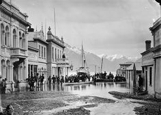 New Zealand: Times Past - Ballarat Street, Queenstown, NZ, flooded 1878 Lake Wakatipu, Google Art Project, Historical Images, South Pacific, Natural Disasters, New Zealand, The Good Place, Street View, Explore