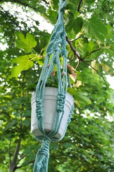 macrame plant hanger in mint - made in Spain