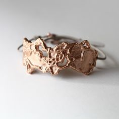 Rose Gold Hickory Cuff with white leather