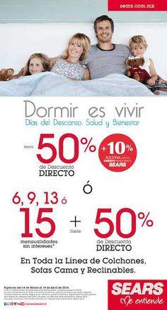 """Sears: 50% de descuento en colchones y Más La tienda departamental Sears cuenta con una muy buena oferta y promoción llamada """"Dormir es Vivir"""" y esta ofreciendo hasta 50% de descuento directo y hasta 15 meses sin intereses o hasta 50% de descuento y 10% de descuento adicional con cr... -> http://www.cuponofertas.com.mx/oferta/sears-50-de-descuento-en-colchones-y-mas/"""