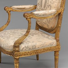 Armchair (Fauteuil à la reine) Jacques Gondouin Maker: François II Foliot master retired Maker: carved by the workshop of Madame Pierre-Edme Babel Maker: gilded by the workshop Marie-Catherine Renon Maker: upholstered by Claude-François Capin (died Antique French Furniture, Victorian Furniture, Antique Chairs, Classic Furniture, Furniture Styles, Fine Furniture, Luxury Furniture, Furniture Design, Side Chairs