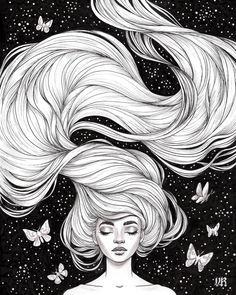 """Hairstyle Drawing Inktober day """"Flowing""""I gave myself a head start with this one cause I knew I wanted to draw lots of hair and that it would take a while. Pretty happy with how it came out. Kunst Inspo, Art Inspo, Drawing Heads, Painting & Drawing, Art And Illustration, Art Sketches, Art Drawings, Amazing Drawings, How To Draw Hair"""