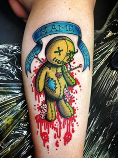 Voodoo doll tattoos are the most popular voodoo tattoos, but there are many varieties. Check out this gallery of all kinds of voodoo tattoos! Sin Tattoo, Tattoo Henna, Tattoo Trend, Tattoo Spirit, Voodoo Doll Tattoo, Voodoo Dolls, Cool Tattoos, Tatoos, Magic Symbols