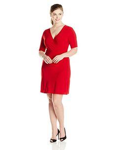 Star Vixen Women's Plus-Size 3/4 Sleeve Faux Wrap Dress, Red - http://www.womansindex.com/star-vixen-womens-plus-size-34-sleeve-faux-wrap-dress-red/