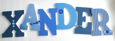 Custom Decorated Wooden Letters BLUE THEME Nursery by LetterLuxe, $20.00