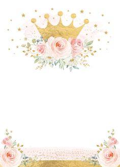 Invitación Princesa de la Corona de Oro Rosa Cumpleaños Flora | Zazzle.com Floral Wallpaper Phone, Flower Background Wallpaper, Baby Food Jar Crafts, Baby Crafts, Baby Shower Princess, Princess Birthday, Floral Watercolor Background, Diwali Pictures, Baby Girl Clipart