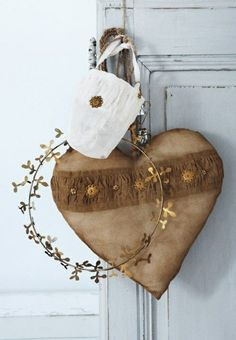 Autumn decoration heart with plating decorated elements