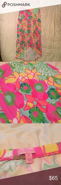 Lilly Pulitzer Hi-Low Maxi Skirt • EUC • Lilly Pulitzer • Size: M • Hi-Low Skirt • Shortest Length: 32 in • Longest Length: 40.5 in • 96% Rayon • 4% Spandex • Open to Offers • Lilly Pulitzer Skirts High Low