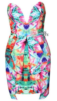 Free shipping  Fashion colored flower print V-neck waist strapless dress flouncing TB 5775 $22,32
