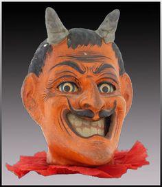 Papier Mache Candy Holder Devil Head