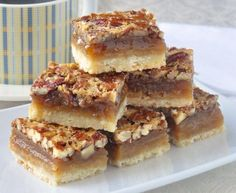 The Best Pecan Pie Bars - this easy recipe includes a simple shortbread bottom and a one bowl mix & pour topping. Tips for baking and cutting them are included. # Easy Recipes baking The Best Pecan Pie Bars - so quick & easy to make! Pecan Desserts, No Bake Desserts, Just Desserts, Delicious Desserts, Baking Desserts, Desserts With Pecans, Recipes With Pecans, Potluck Desserts, Make Ahead Desserts