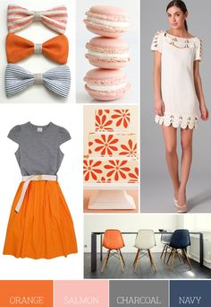 Spring 2012 Pantone - tangerine orange, salmon pink (replace with Sweet Lilac for pantone 2012), charcoal (replace with driftwood gray for 2012) and navy (replace with sodalite blue).
