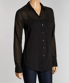 This Black Weekender Silk-Blend Button-Up - Women by B.D.Baggies is perfect! #zulilyfinds