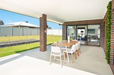 Albury Display Homes by local builders. Outdoor Living Areas, Outdoor Dining, Outdoor Decor, Local Builders, Home Builders, Exposed Aggregate Driveway, Activity Room, Display Homes, Western Red Cedar