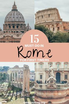 Rome is a gorgeous place full of architectural historical and cultural gems. Its hard to know where to go and what to see on the first visit but some sights and places are just absolute mustdo. Here are the 15 best things to do in Rome for firsttimers Rome Vacation, Vacation Destinations, Dream Vacations, European Vacation, Romantic Vacations, Vacation Places, Romantic Travel, Holiday Destinations, Italy Travel Tips