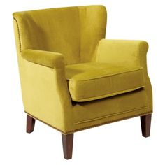 Bailey Accent Wing Chair with Brushed Nailhead - Basil Green