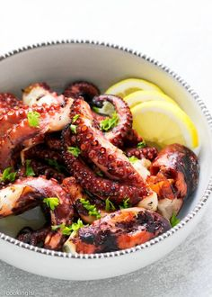 This Grilled Octopus Recipe Cooking LSL is a better for your Lunch made with awesome ingredients! Dairy, Gluten Free, grain free and paleo too!, Our octopus is much easier than Recipes very delicious, we can try to make this Easy: Grilled Octopus Seafood Boil Recipes, Seafood Dishes, Seafood Platter, Squid Recipes, Fish Recipes, Indian Recipes, Grilling Recipes, Cooking Recipes, Healthy Recipes