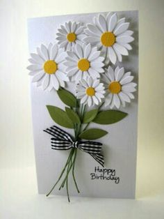 Have a look this lovely and cherished handmade card that decorated with bunch of white flowers that are similar with sunflower shape. Description from trendymods.com. I searched for this on bing.com/images