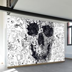 Doodle Skull Wall Mural