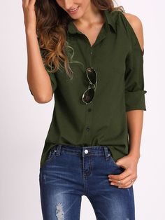 Shop Open Shoulder Collared Shirt online. SheIn offers Open Shoulder Collared Shirt & more to fit your fashionable needs.