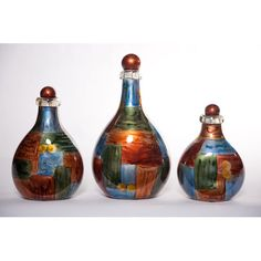 Amerciana Bottles With Tops, Set Of Three | $251.95