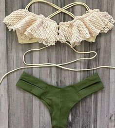 Green Lace Bikini Set