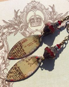 Memories...Foreign Script, Mixed Media, VintageStyle, OOAK, Bohemian Glam, Earthy, Rustic, Red, Assemblage, JustSlightlyVintage by JustSlightlyVintage on Etsy