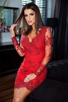 9de7434477997a Sukienka koronkowa DIANA długi rękaw - Czerwony