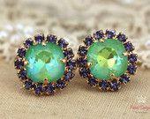 Green Purple violet stud Swarovski earrings, gift for woman, crystal studs- 14k 1 micron Thick plated gold earrings swarovski rhinestones.