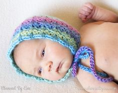 Free Crochet Pattern: Sweet Like Candy Bonnet by Charmed By Ewe Crochet Baby Bonnet, Crochet Baby Clothes, Crochet Cross, Knit Or Crochet, Crochet For Kids, Blanket Crochet, Bonnet Pattern, Free Pattern, Crochet Photo Props
